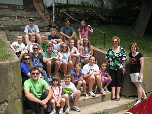 The Juniors on the old church steps on Vine Street